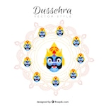 Dussehra background with ravana faces
