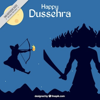 Dussehra celebration background with struggle represented