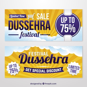 Dussehra sale banners in flat design