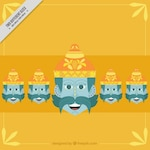 Dussehra yellow background with heads of ravana