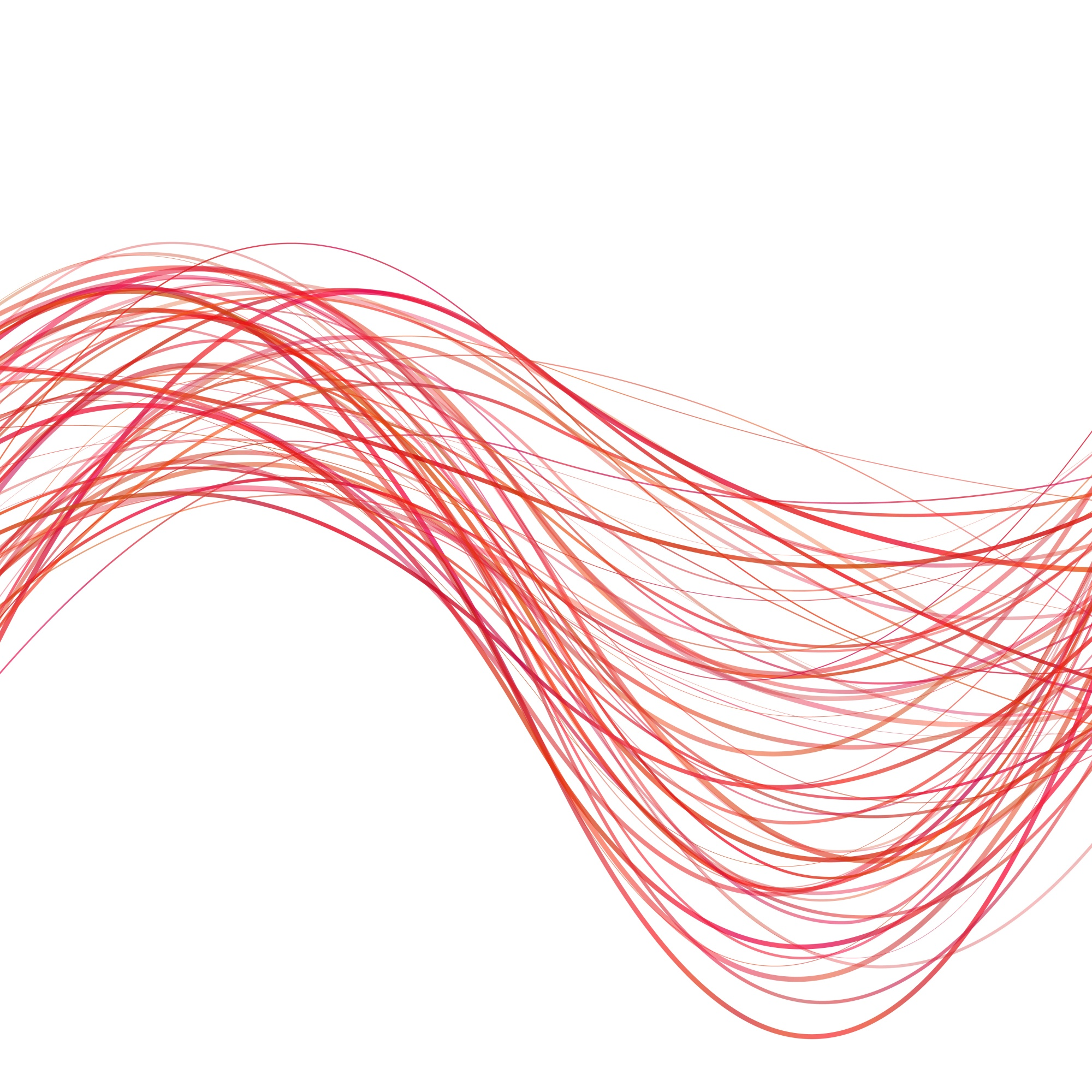 Dynamic abstract wave line background - vector illustration from red curved stripes