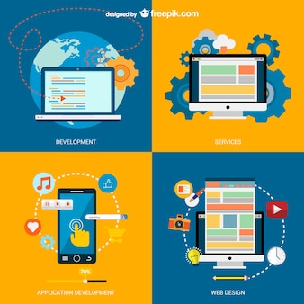E-business vector with electronic devices