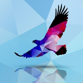 Eagle made of polygons background