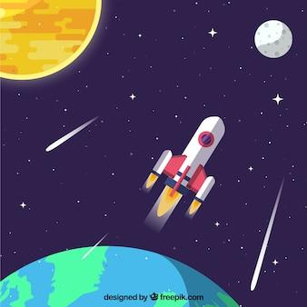 地球の背景とロケット