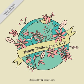 Earth background with hand drawn flowers