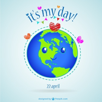 Earth Day kawaii illustration