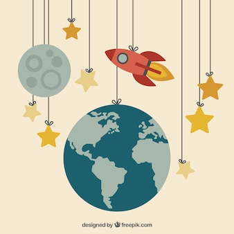 Earth, moon and a rocket hanging on the ropes