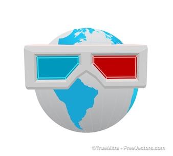 Earth sunglasses background vector set