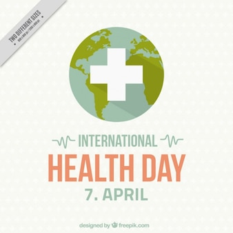 Earth with a cross International Health Day background