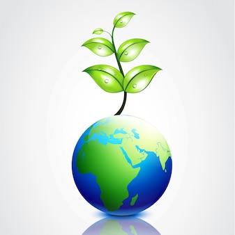 成長しているベクトル地球は葉っぱ
