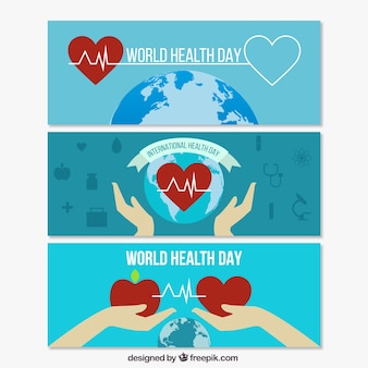 Earth with hearts World Health Day banners