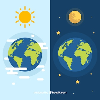 Earth with sun and moon