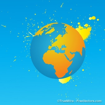 Earth with yellow paint vector