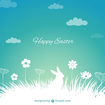 Easter background with bunny silhouette