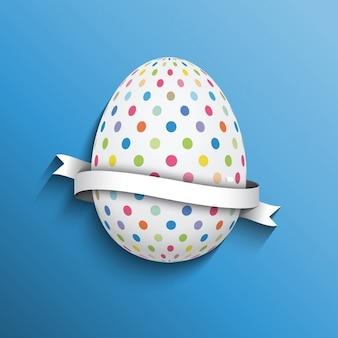 Easter background with dotted egg and ribbon
