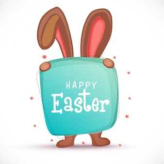 Easter background with rabbit hiding