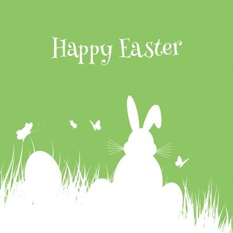 Easter background with silhouette of easter bunny and eggs