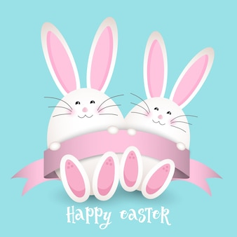 Easter background with two rabbits and a ribbon