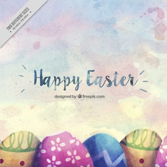 Easter background with watercolor eggs