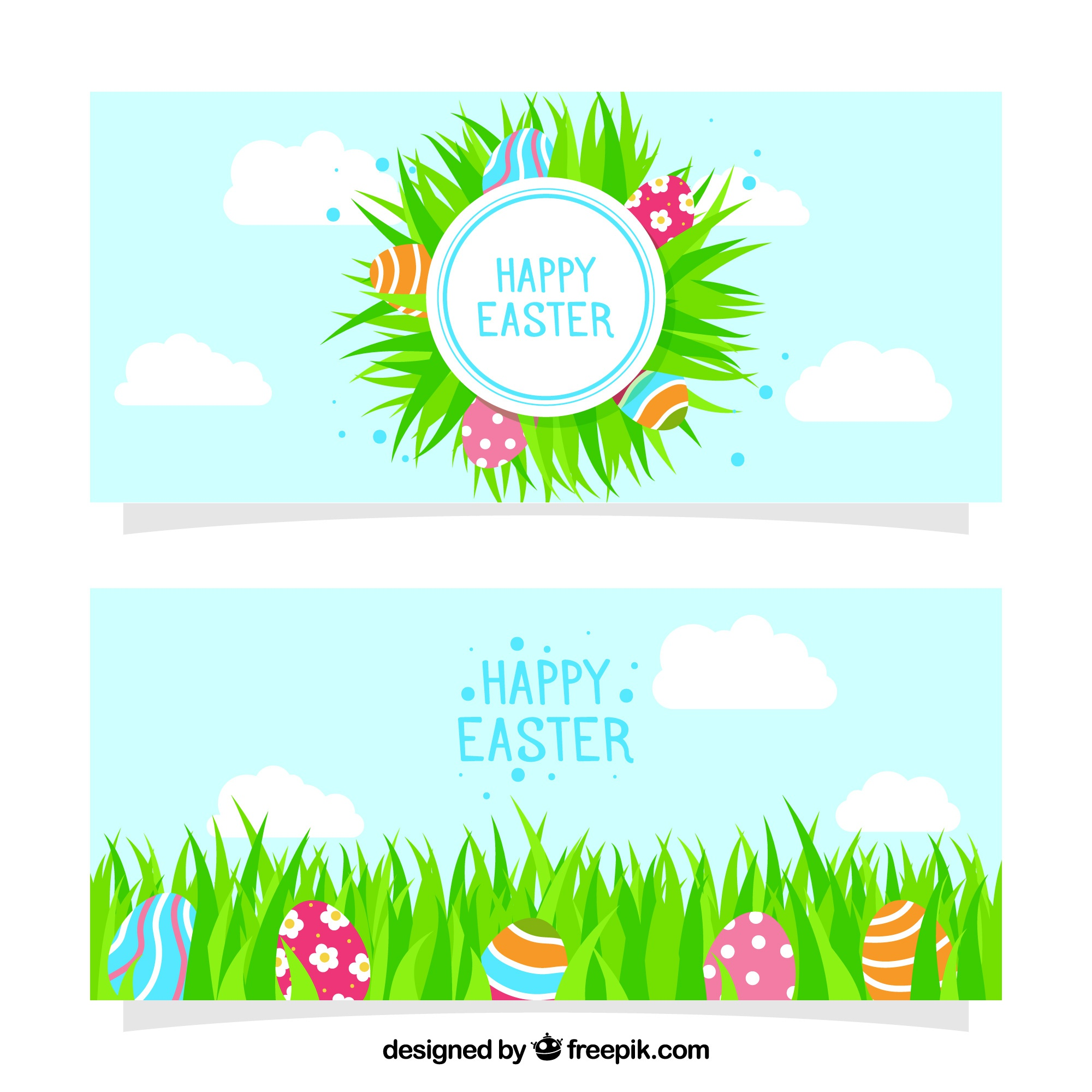 Easter banners with eggs and decorative grass