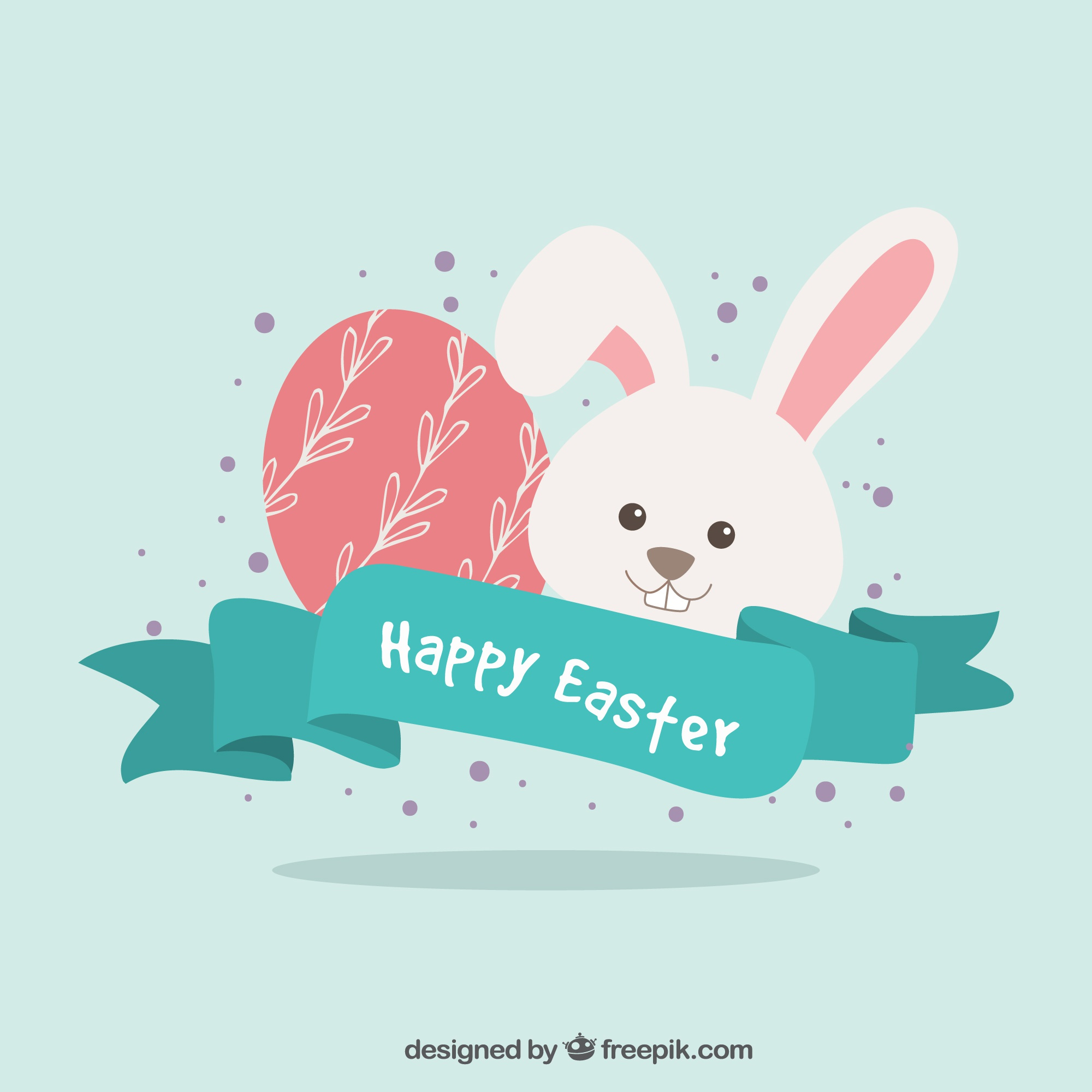Easter bunny and egg background with vintage ribbon