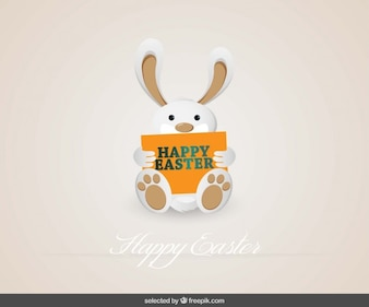 Easter Bunny Holding Card