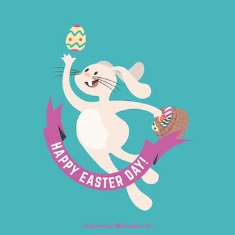 Easter Bunny Jumping Illustration