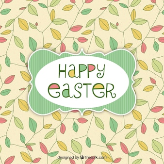 Easter card with leaves background