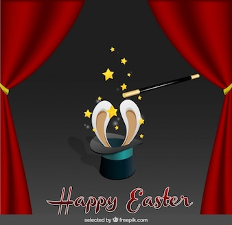 Easter card with magician hat