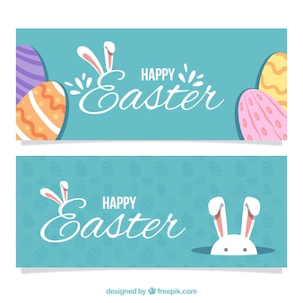 Easter day banners in vintage design