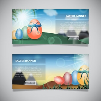 Easter egg banners with sky and clouds