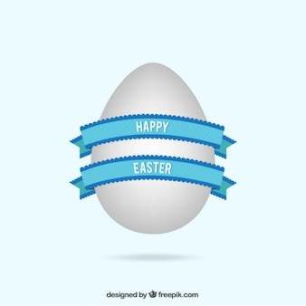 Easter egg with blue ribbon