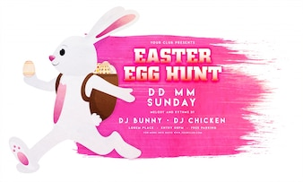 Easter flyer template with pink stain and bunny