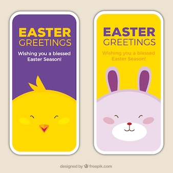 Easter greeting banners with lovely animals