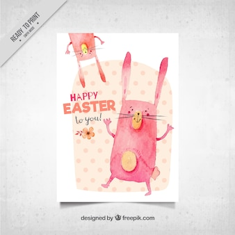Easter greeting card with watercolor rabbits
