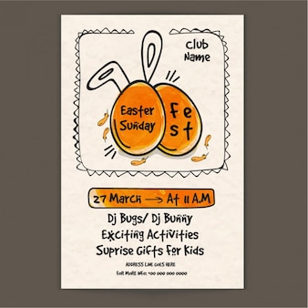 Easter party brochure with orange details