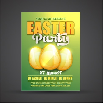 Easter party brochure with three golden eggs