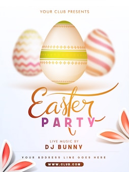 Easter party poster with eggs and decorative rabbit ears