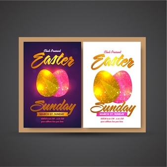 Easter party poster with golden and pink eggs