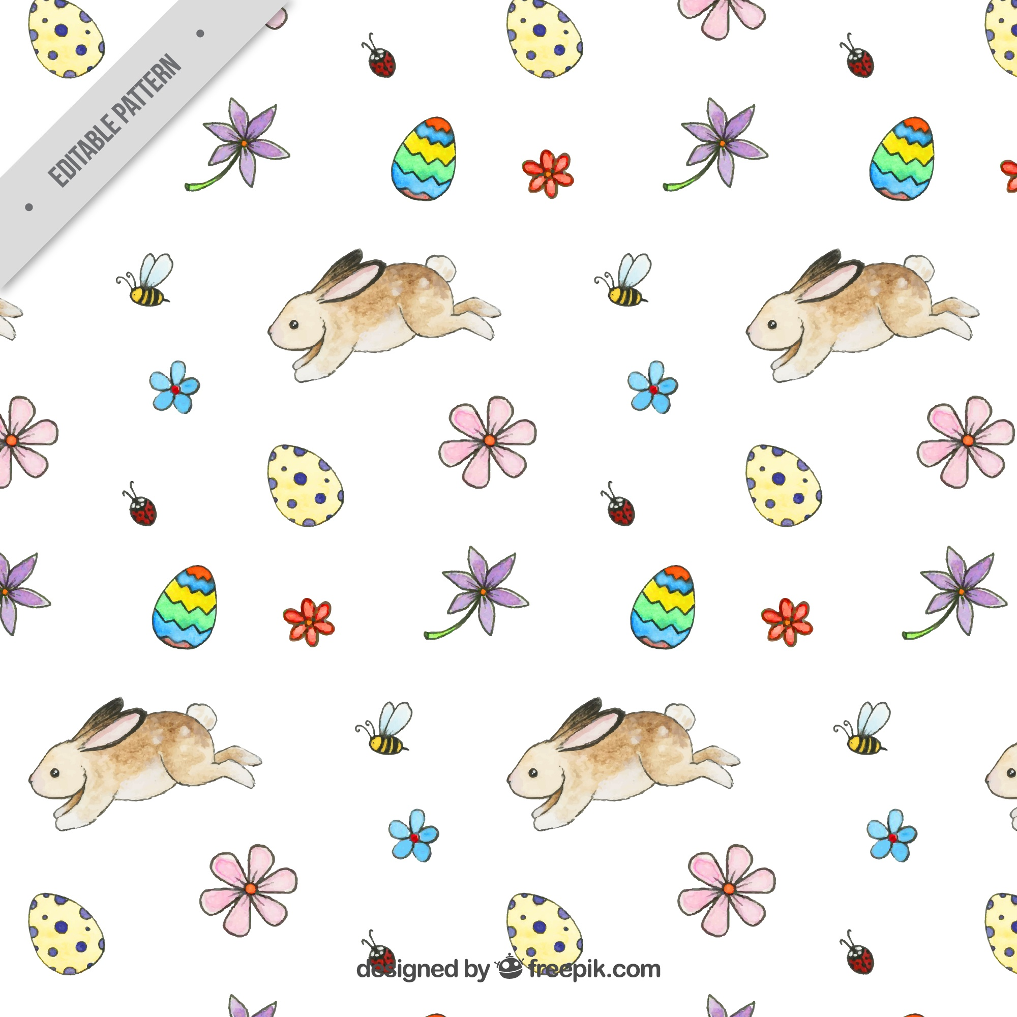 Easter pattern with rabbits and eggs in watercolor style