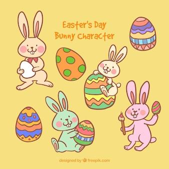 イースターの日のウサギのキャラクター