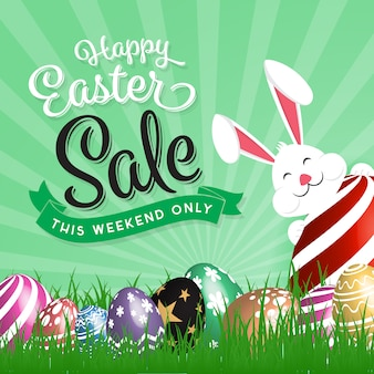 Easter sales background with rabbit
