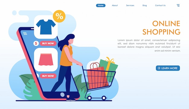Easy online shopping landing page in flat style