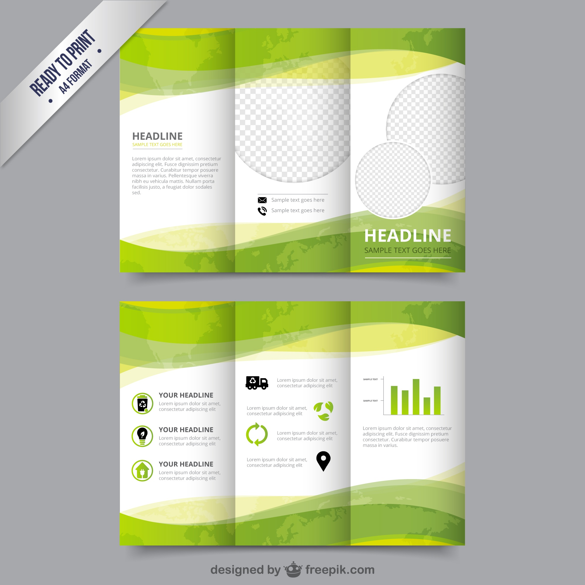 Eco brochure template in green color