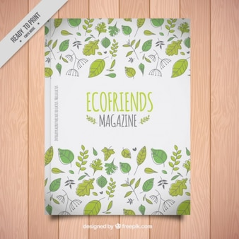 Eco friend magazine with hand drawn leaves