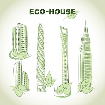 Eco green buildings icons