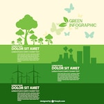 Eco infographic with green trees, nuclear power plant and windmills
