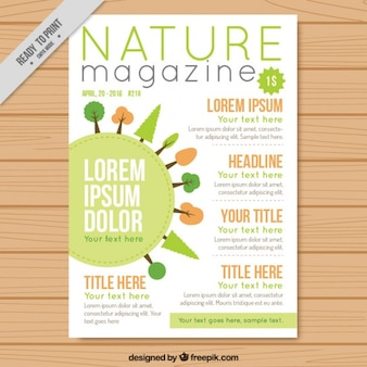 Ecologic magazine with trees drawings