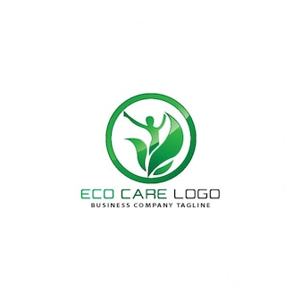 Ecological circle logo with leaves