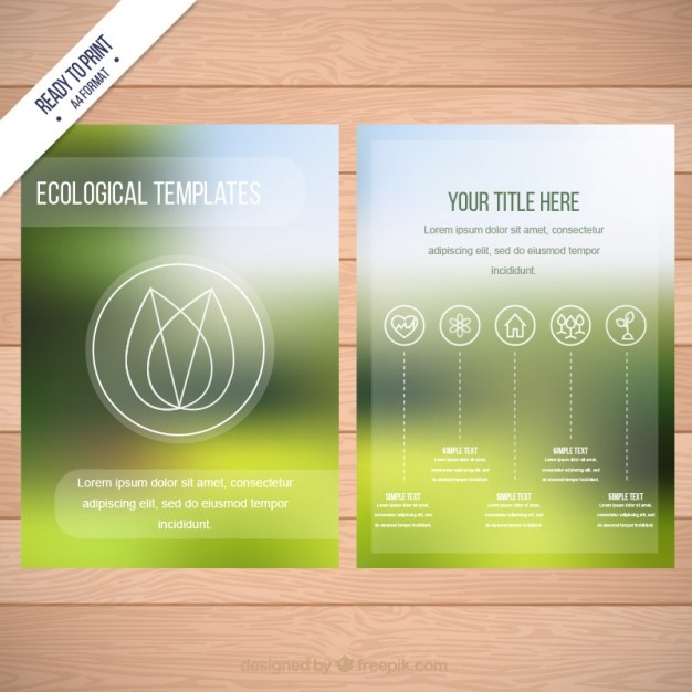 Ecological flyer template on blurred background